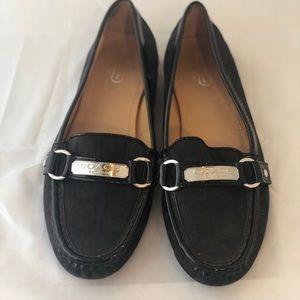 Coach Black Logo Felisha Jaquard Loafers size 9